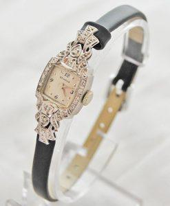 Ladies-14ct-White-Gold-Benrus-Cocktail-Diamond-set-case