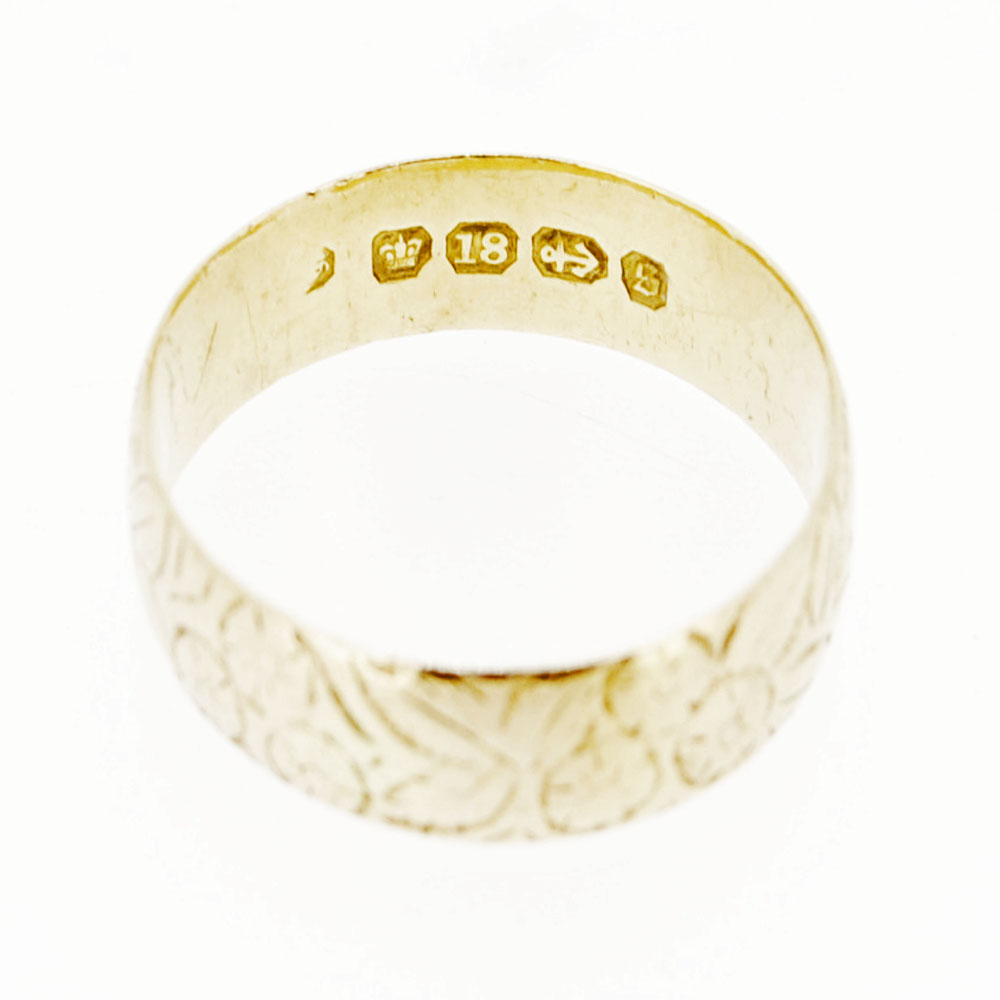 Victorian Antique Engraved 18ct Gold Wedding Band 30d4ad08d802