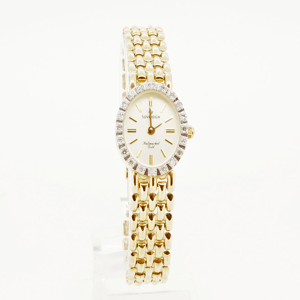 Ladies 9ct Gold Sovereign Watch Set With 20 Diamonds Krafft Jewellers